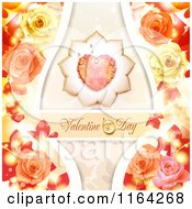 Clipart Of A Valentines Day Background With Text A Heart And Roses 4 Royalty Free Vector Illustration