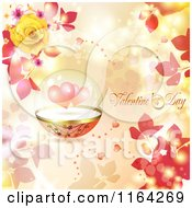 Clipart Of A Valentines Day Background With Text Hearts In A Dome And Roses Royalty Free Vector Illustration
