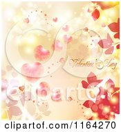 Clipart Of A Valentines Day Background With Text Hearts And Foliage 3 Royalty Free Vector Illustration