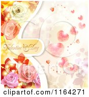 Clipart Of A Valentines Day Background With Text Hearts And Roses 3 Royalty Free Vector Illustration