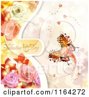 Clipart Of A Valentines Day Background With Text Hearts A Butterfly And Roses Royalty Free Vector Illustration