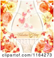 Clipart Of A Valentines Day Background With Text Hearts And Roses 4 Royalty Free Vector Illustration
