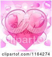 Clipart Of A Pink Valentine Heart Bubble Over Other Hearts Royalty Free Vector Illustration by elaineitalia