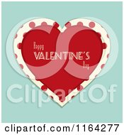 Clipart Of A Red Happy Valentines Day Heart With Polka Dots Over Blue Royalty Free Vector Illustration