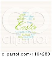 Easter Word Collage Forming An Egg Over Stripes