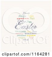 Easter Word Collage Of Words In Different Languages Forming An Egg Over Stripes