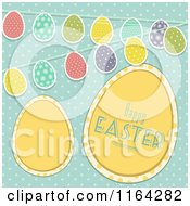Yellow Happy Easter Eggs With Buntings Over Polka Dots On Blue