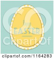 Clipart Of A Yellow Happy Easter Egg With Polka Dots Over Blue Royalty Free Vector Illustration
