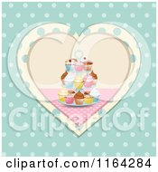 Clipart Of A Cupcake Stand In A Heart Over Polka Dots Royalty Free Vector Illustration