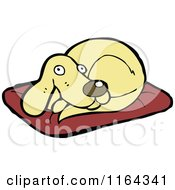 Cartoon Of A Dog On A Pillow Royalty Free Vector Illustration by lineartestpilot