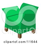 Green Chair In A Living Room Clipart Illustration