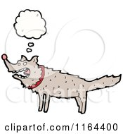 Cartoon Of A Thinking Dog Or Wolf Royalty Free Vector Illustration