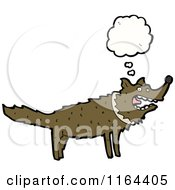Cartoon Of A Thinking Wolf Royalty Free Vector Illustration