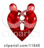 Family Of Four Embracing And Forming The Shape Of A Red Heart Clipart Illustration by AtStockIllustration #COLLC11645-0021