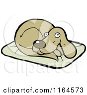 Cartoon Of A Dog On A Pillow Royalty Free Vector Illustration