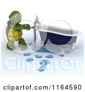 Clipart Of A 3d Plumber Tortoise Fixing A Leaky Bath Tub Pipe Royalty Free CGI Illustration by KJ Pargeter