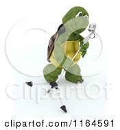 Clipart Of A 3d Tortoise Singer With A Microphone Royalty Free CGI Illustration