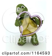 3d Tortoise Holding A Pink Metallic Valentine Heart