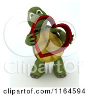 Clipart Of A 3d Tortoise Holding A Red Metallic Valentine Heart Royalty Free CGI Illustration