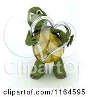3d Tortoise Holding A Silver Metallic Valentine Heart