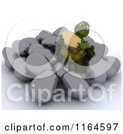 Clipart Of A 3d Tortoise Holding A Gold Egg In A Pile Of Silver Easter Eggs Royalty Free CGI Illustration