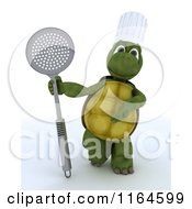 Clipart Of A 4d Tortoise Chef Standing With A Straining Spoon Royalty Free CGI Illustration