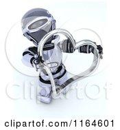 3d Robot Holding A Silver Valentine Heart