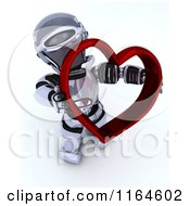 Clipart Of A 3d Robot Holding A Red Valentine Heart Royalty Free CGI Illustration by KJ Pargeter