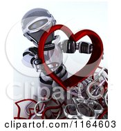 3d Robot Holding A Red Valentine Heart With Others At His Feet