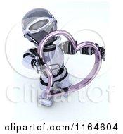 3d Robot Holding A Pink Valentine Heart