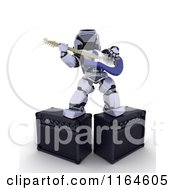 Clipart Of A 3d Robot Playing An Electric Guitar And Standing On Amps Royalty Free CGI Illustration by KJ Pargeter