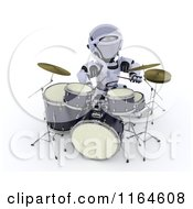 Clipart Of A 3d Drummer Robot Royalty Free CGI Illustration by KJ Pargeter
