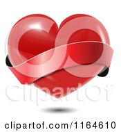 Clipart Of A Shiny Red Heart With A Wavy Red Banner And Shadow Royalty Free Vector Illustration