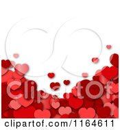 Background With 3d Red Hearts Under White Copyspace