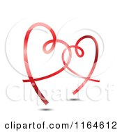 Clipart Of Two Shiny Red Ribbon Hearts Entwined Royalty Free Vector Illustration by vectorace