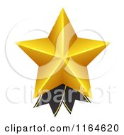 Clipart Of A 3d Gold Star And Black Ribbon Award Royalty Free Vector Illustration
