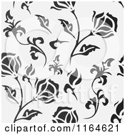 Clipart Of A Gradient Grayscale Floral Background Royalty Free Vector Illustration by vectorace