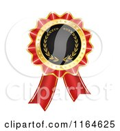 Clipart Of A Red And Gold Rosette Award Ribbon Medal Royalty Free Vector Illustration
