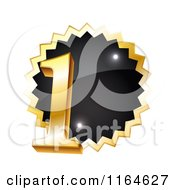 Clipart Of A Gold And Black First Place Winner Tag Royalty Free Vector Illustration