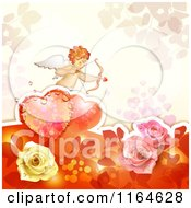 Clipart Of A Valentines Day Background With Cupid Roses And A Heart Royalty Free Vector Illustration
