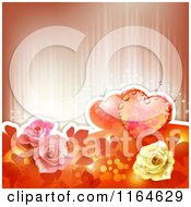 Clipart Of A Wedding Or Valentines Day Background With Hearts And Roses With Copyspace 2 Royalty Free Vector Illustration