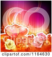 Clipart Of A Wedding Or Valentines Day Background With Hearts And Roses With Copyspace Royalty Free Vector Illustration