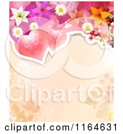 Clipart Of A Wedding Or Valentines Day Background With Hearts And Flowers Over Copyspace Royalty Free Vector Illustration