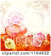 Clipart Of A Wedding Or Valentines Day Background With Hearts And Roses With Copyspace 3 Royalty Free Vector Illustration