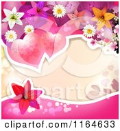 Wedding Or Valentines Day Background With Hearts And Flowers Around Copyspace
