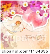 Clipart Of A Valentines Day Background With Cupid Roses Text And Flowers Royalty Free Vector Illustration