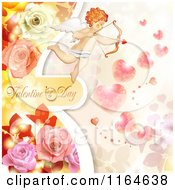 Clipart Of A Valentines Day Background With Cupid Roses Text And Hearts Royalty Free Vector Illustration