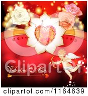 Clipart Of A Valentines Day Background With Cupid Roses Text And A Heart Royalty Free Vector Illustration