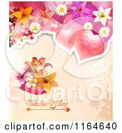 Clipart Of A Valentines Day Background With Roses And Flowers Over Text 2 Royalty Free Vector Illustration