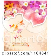 Clipart Of A Valentines Day Background With Hearts Flowers And Butterflies Royalty Free Vector Illustration